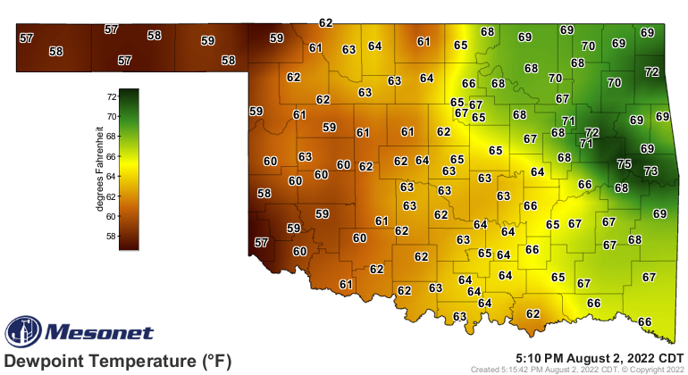 current dew points in Oklahoma