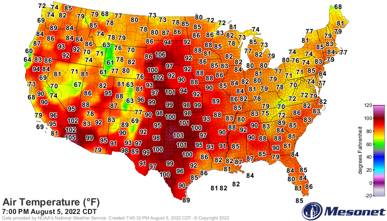 Mesonet U.S. Temperatures
